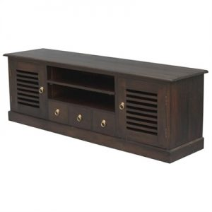 Hawaii Solid Mahogany 2 Door 3 CD Drawer 160cm Entertainment Unit in Chocolate