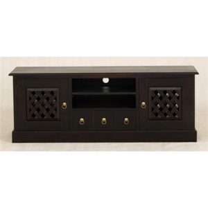 York 3 Drawer + 2 Weave Cupboard Solid Mahogany Entertainment Unit - Chocolate