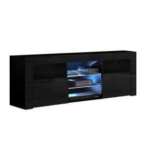 145cm RGB LED TV Cabinet Entertainment Unit Stand Gloss Furniture Black