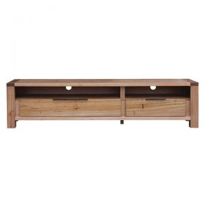 Nelson Wormy Chestnut Timber 2 Drawer TV Unit, 180cm