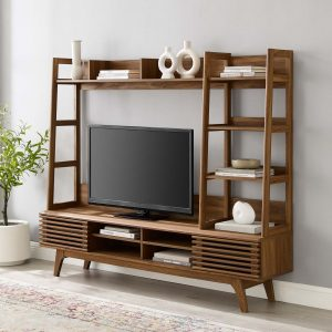 Render TV Stand Entertainment Center in Walnut