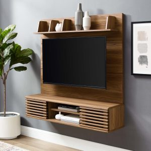 Render Wall Mounted TV Stand Entertainment Center in Walnut
