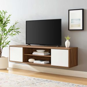 """Envision 60"""" Wall Mount TV Stand in Walnut White"""